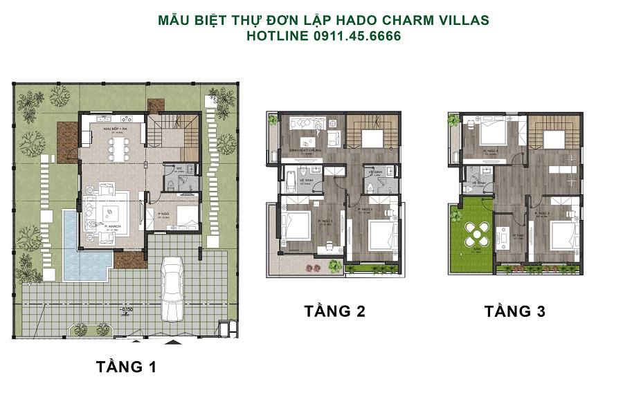 thiết kế biệt thự đơn lập hado charm villas