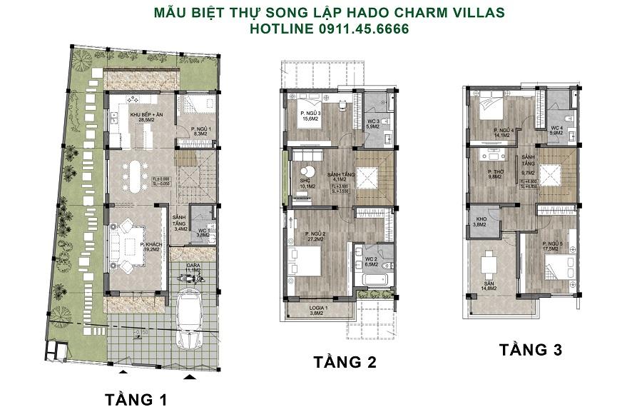 thiết kế biệt thự song lập hado charm villas